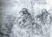 the holy family with the infant baptist by flaminio torre