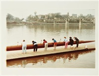 crew team turning launching boat; carrying the boat; launching boat (3 works) by william eggleston