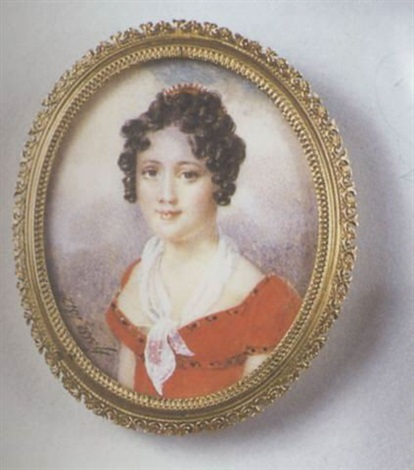 portrait de jeune femme en robe rouge écharpe de gaze blanche et peigne de corail dans sa chevelure bouclée fond de ciel nuageux by henri joseph hesse