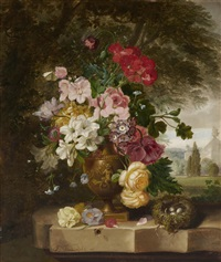 a still life with flowers in a gilt amphora and bird's nest by john wainwright