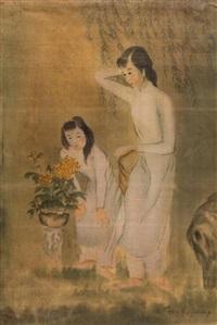 jeunes filles au bouquet jaune by luong