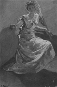 sitzende frau in langem gewand mit schild, palmenzweig und lorbeerkranz in der art der germania by karl rodeck