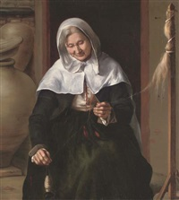 an old woman spinning wool in an interior (follower of louis and matthew le nain) by louis le nain