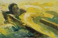 enfant nageant à côté d'une pirogue by dominique mwankumi