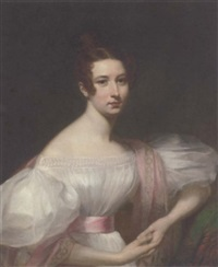 portrait of a lady in a white dress with a pink shawl and sash by william gush