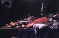nature morte au homard et au chat by pieter van overschee