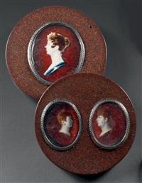 triple portrait de madame chenard et de ses deux fils (3 works) by jean désiré muneret