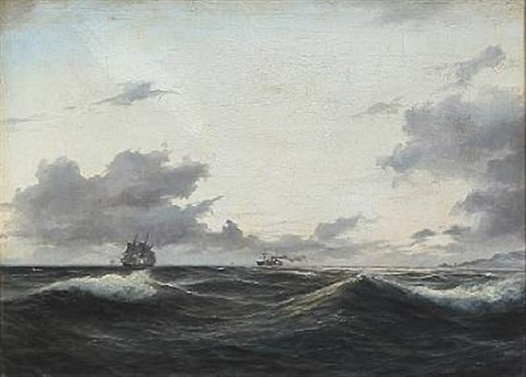 seascape with sailing ships on open sea by daniel hermann anton melbye