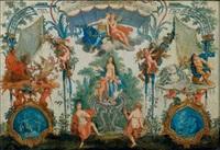panneau à décor de grotesques avec les figures de léda, pluton et neptune by claude audran iii
