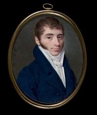 portrait de jeune homme en redingote bleue, gilet et cravate blanche by ferdinand machera
