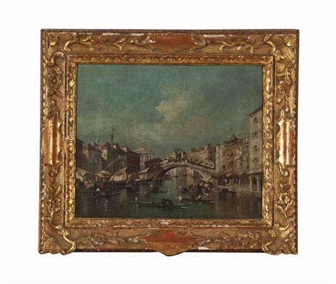 view of the rialto bridge on the grand canal, venice and untitled (2 works) by francesco guardi