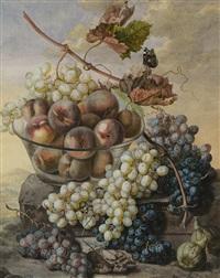 plat de pêches et raisins by ignacz gaal