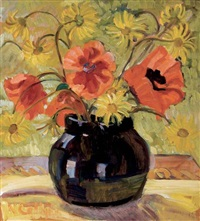 poppies and doronicum by nora frances elisabeth collyer