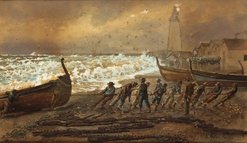 recogiendo las barcas y recogiendo las redes pair by emilio millan ferriz
