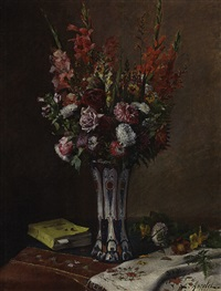 blumenstrauß in einer vase by emile ancelet