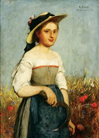 portrait of bavarian farmer (+ portrait of his wife; pair) by ludwig (louis) rach