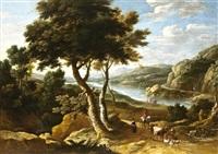 folyóparti táj állatokat terelő pásztorokkal by gaspar de witte