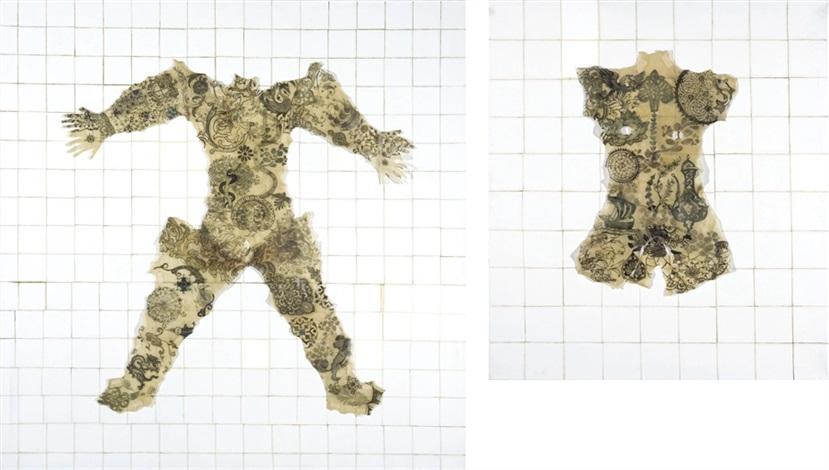 irezumi com padrão de cerámica (2 works) by adriana varejão