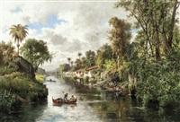 vue animée sur une rivière dans les environs de rio de janeiro, brésil by henri langerock