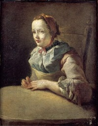 jeune femme assise devant une table by charles françois hutin