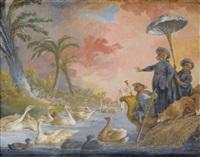 le singe bonimenteur devant une grande assemblée de cygnes et canards by alexis peyrotte