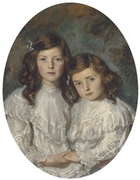 double portrait of two sisters, half-length, in white dresses by daniel albert wehrschmidt