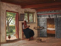 interior of a peasant's cottage with a young girl at the wool winder, in the vicinity of hedebo by johann julius exner