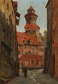 street view from rothenburg, germany by august fischer