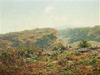 deers in a wide landscape by hermann herzog