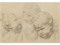 an arrangement of three cherubic child head studies by theodore major