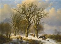 winter landscape with cattle drivers by johan b. klombeck & eugene j. verboeckhoven
