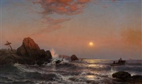 sunset over the new england coast by mauritz frederick hendrick de haas