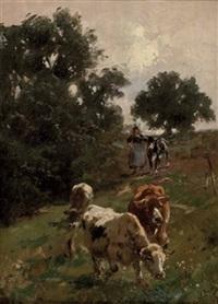 hirtin mit kühen auf der weide by wilhelm friedrich frey