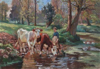 a milkmaid and two cows at a watering hole by raymond (louis) le court