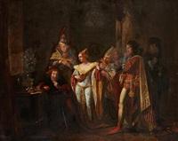 assemblée de troubadours autour d'un roi fou by jean baptiste vermay