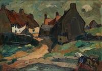 travaux aux champs sur fond de village by albert raty