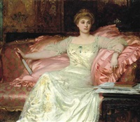 portrait of mrs w.k.d'arcy, seated, in an opulent interior by frank dicksee
