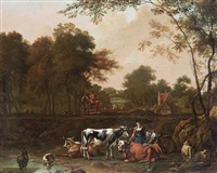 a milkmaid with cattle beside a stream by jan kamphuys