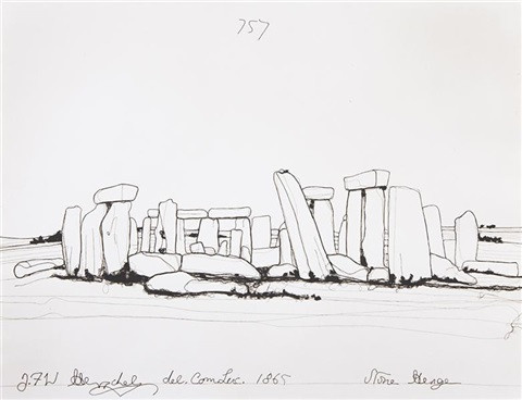 1100 yards stonehenge after sir john herschel from pictures of thread by vik muniz