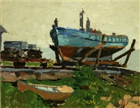 boat in dry dock by ferdinand kaufmann
