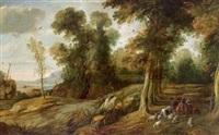 weite bewaldete landschaft mit hirten und herde sowie jägern auf der hasenjagd by jan wildens