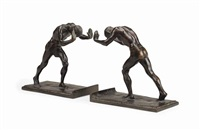 pushing men: a pair of bookends by isidore konti