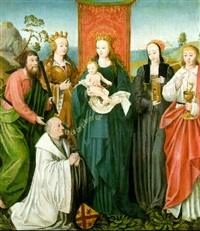 the virgin and child with ss. thomas, catherine of alexandria, john the evangelist and donation by german school-cologne (16)