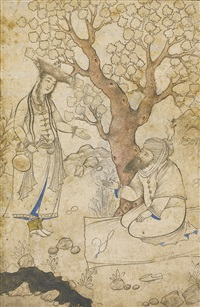 a maiden and bearded man by a stream by muhammad qasim