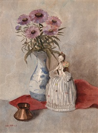 vase with flowers and an earthenware figurine by frans vollmer
