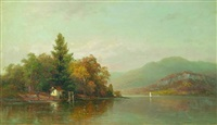 a cabin on the lake (probably lake george) by herman fuechsel