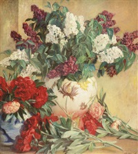 lilacs and peonies in a vase by jean c. ubaghs