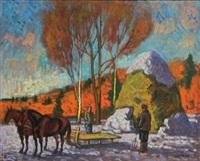 paysans et attelage dans la campagne russe enneigée by konstantin bourov