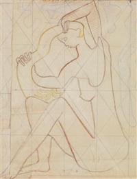 jeune femme nue se coiffant by amédée ozenfant