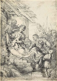 adoration of the magi; the virgin adoring the infant christ with saint joseph (2 works) by bartolomeo biscaino